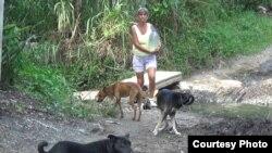 Ana Alfonso carga a diario cubos de agua.