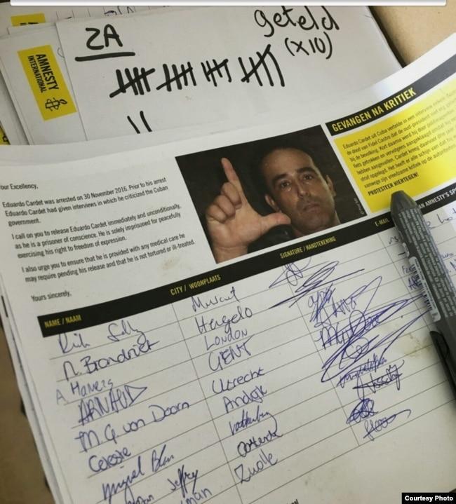 AI recolectó firmas a favor de la libertad de Eduardo Cardet