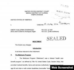 Encabezamiento de la acusación contra Ubert Guillermo Rodríguez por fraude al Medicare.