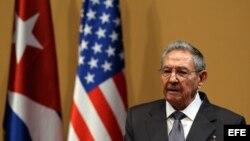 Raúl Castro durante la visita a Cuba del presidente de Estados Unidos Barack Obama.