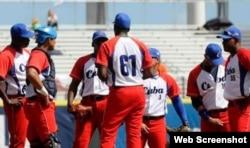Vegueros con el uniforme del equipo Cuba.