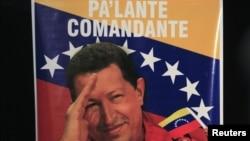 A poster of Venezuela's President Hugo Chavez
