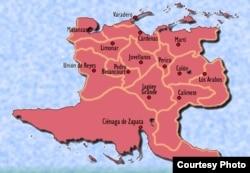 """La afectación diarreica forma una """"S"""" que incluye cinco municipios contiguos, desde Unión de Reyes en el suroeste hasta Martí en el noreste, pasando por Pedro Betancourt, Jovellanos y Cárdenas."""