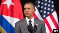 El presidente Barack Obama durante el discurso que dirigió a los cubanos.