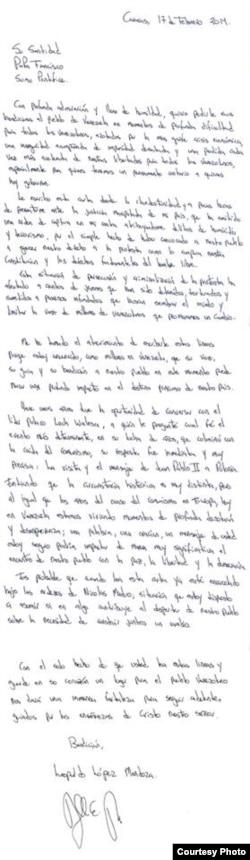 Carta de Leopoldo López al papa Francisco