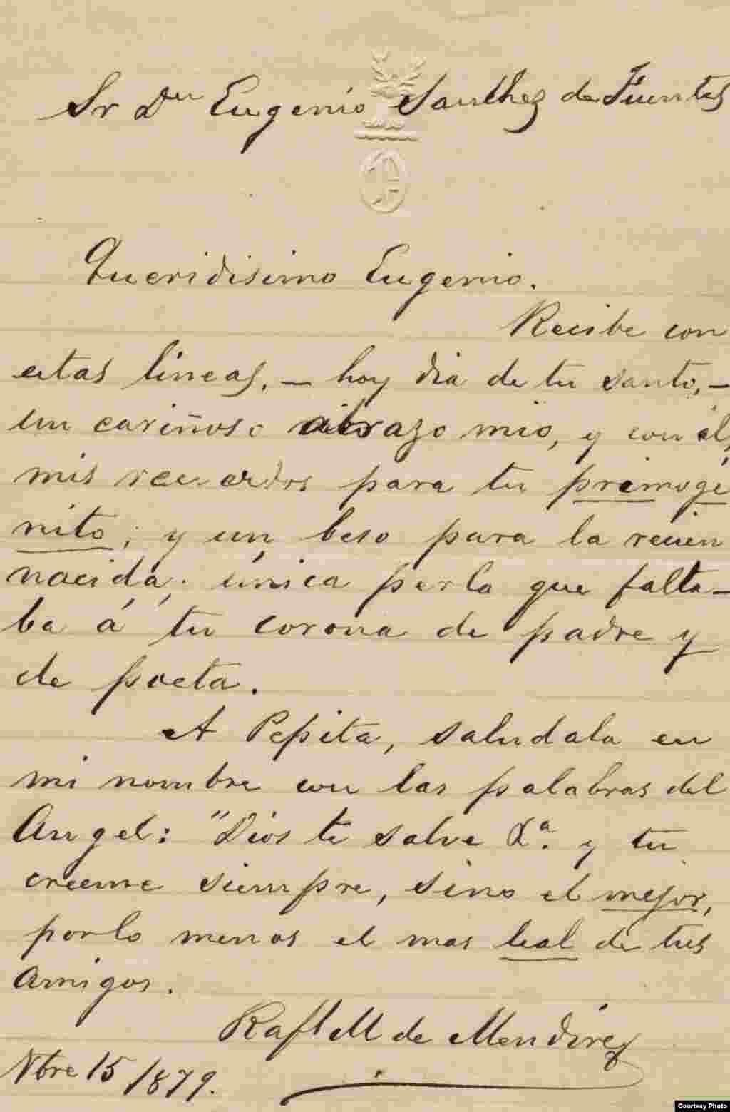Carta de Rafael María de Mendive a Don Eugenio Sánchez de Fuentes. Cortesía de Orlando González Esteva.