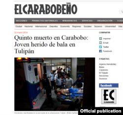 """La noticia de la muerte de Argenis en """"El Carabobeño""""."""
