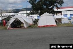 Casas de campaña de la Cruz Roja en Santiago de Cuba.
