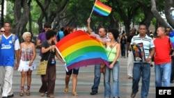 Un reducido grupo de activistas independientes cubanos celebra una marcha de apoyo a los gays (Archivo)