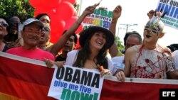 Mariela Castro, mientras pide en una oficialista manifestación de homosexuales en la isla, la devolución de cinco espías castristas presos en cárceles de Estadso Unidos.