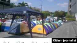 @gresplandor jóvenes plantados frente a la sede de la ONU en Caracas