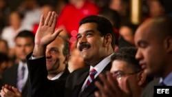 El presidente de Venezuela, Nicolás Maduro en Caracas (Venezuela), con motivo del lanzamiento de la Misión Mercosur con la participación de su gabinete económico, empresarios e inversionistas.