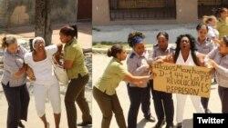 Agentes de la policía política detienen a las Damas de Blanco cuando salen a la calle a manifestarse pacíficamente.