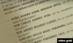 """Detalle de la demanda de plagio del cubano Livam contra """"La bicicleta"""" de Carlos Vives y Shakira."""
