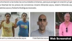 Presos políticos del Movimiento Cubano Reflexión. (Captura de imagen del comunicado del MCR)