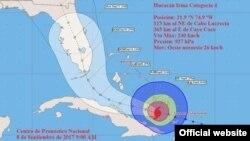 Cono de probabilidades del huracán Irma a las 9 am según el INSMET muestra acercamiento a costa norte cubana. El punto de entrada a la Florida ha estado variando hacia la costa oeste.