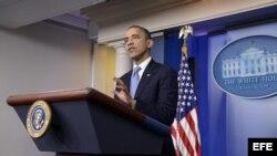 El presidente de Estados Unidos, Barack Obama, habla sobre el Huracán Sandy en una rueda de prensa convocada en la Casa Blanca, en Washington, EE.UU.