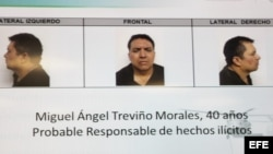 Imagen tomada de un televisor donde se muestran fotografías suministradas por SEMAR del capo del narcotráfico mexicano Miguel Ángel Treviño Morales, líder del cártel de Los Zetas y uno de los delincuentes más buscados de México hoy, lunes 15 de julio de
