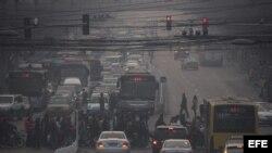 Contaminación ambiental en Pekín.
