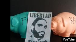 "Un cartel pide la libertad del grafitero disidente cubano Danilo Maldonado ""El Sexto""."