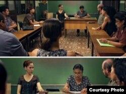 """Escena de """"Conducta"""": Para despedir a la maestra Carmela le echan en cara su largo tiempo en el magisterio, y ella responde: """"No tanto tiempo como los que dirigen este país""""."""