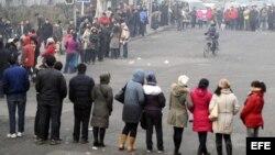 Trabajadores chinos en plena protesta/Foto de archivo