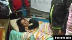 Arianna López Roque se mantiene en huelga de hambre, en su vivienda de Palcetas, Villa Clara.