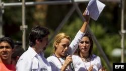 Lilian Tintori, esposa del dirigente político detenido por las autoridades Leopoldo Lépez