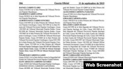 Lista parcial de los presos indultados en Cuba.