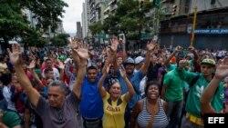 Protesta en Caracas por falta de alimentos