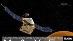 Diseño artístico de la Nasa de Maven y su misión en Marte.