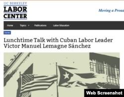 """Invitación en la Universidad de Berkeley para una charla con el """"líder sindical"""" cubano Víctor Manuel Lemagne."""