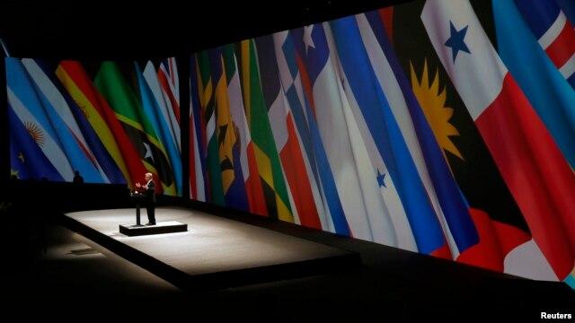El presidente de Chile Sebastian Pinera en su discurso de clausura en la Cumbre del CELAC.