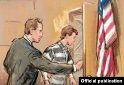 Sketch de la espía Ana Belén Montes saliendo de la sala del tribunal en Washington D.C.