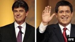 Principales candidatos a la presidencia de Paraguay, Efraín Alegre (i) del Partido Liberal, y Horacio Cortes, del Partido Colorado