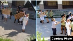 Detención de Damas de Blanco frente a la sede del movimiento opositor en Lawton, el 15 de octubre.