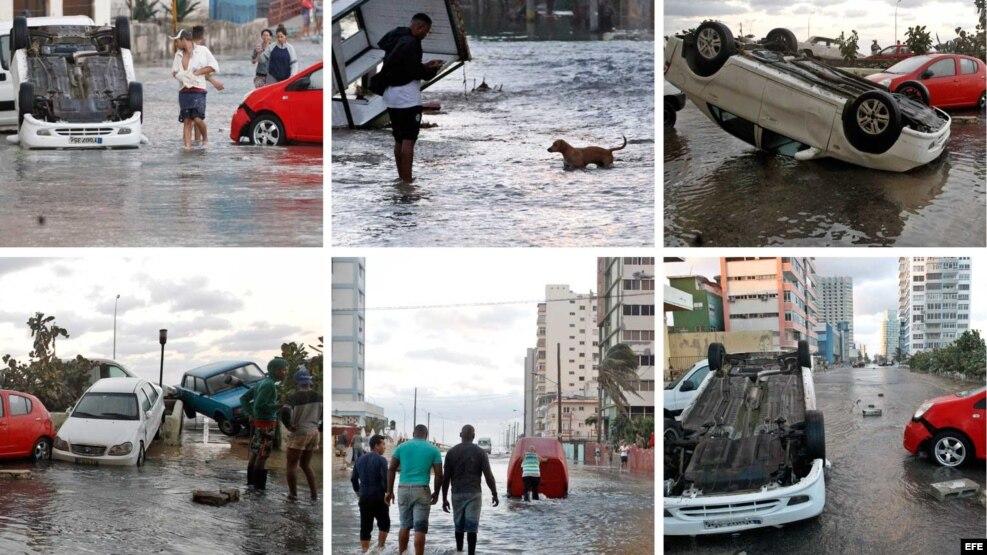 Combinación de fotografías de los daños provocados por las inundaciones en el litoral habanero.