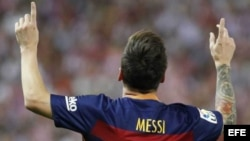 Lionel Messi tras anotar el gol de la victoria.