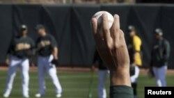 Un entrenamiento de los Oakland Athletics.