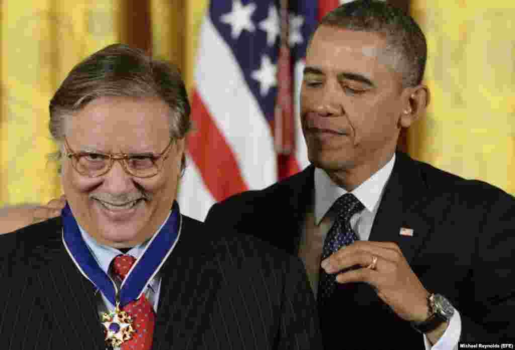 Arturo Sandoval y el presidente estadounidense Barack Obama