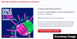Una oferta de Cubacel.