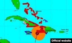 Posición y trayectoria del huracán Matthew hasta las 5 a.m. del martes 4 de octubre.