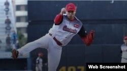 Jorge Martínez, pitcher cubano que juega por los Cardenales de Lara, en la Liga Venezolana de Béisbol Profesional (LVBP). Captura de pantalla del sitio Béisbol Play.