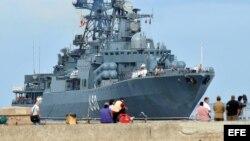 """Fotografía de archivo del cazasubmarinos de la armada rusa """"Almirante Chabanenko""""."""