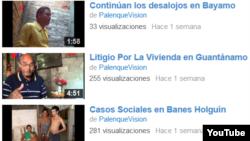 Algunos de los vídeos de Palenque Visión