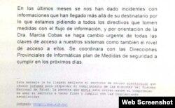 Circular del Ministerio de Salud Pública de Cuba.
