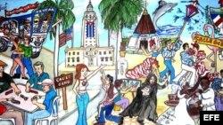 """Combinación de fotografías que muestran algunos de los puntos más representativos de la vida cubana en Miami, Florida, EEUU. Los secretos del exilio cubano y de la pequeña Habana quedarán a partir de ahora al descubierto en un """"tour turístico"""" que ofrecer"""