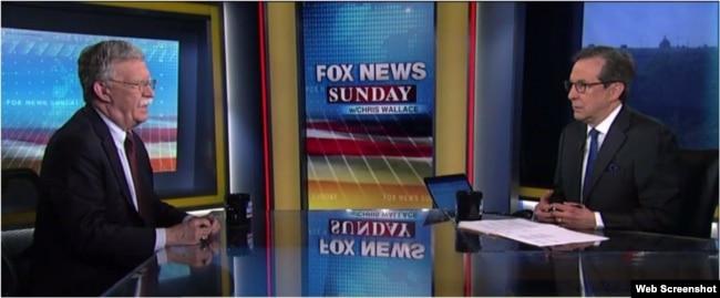 """El asesor de Seguridad Nacional John Bolton entrevistado en """"Fox News Sunday""""."""