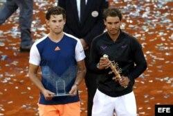(i-e) Thiem y Nadal en el Madrid Open 2017.