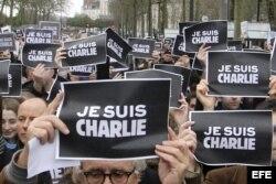 Manifestación en Nantes, Francia, en solidaridad con Charlie Hebdo.